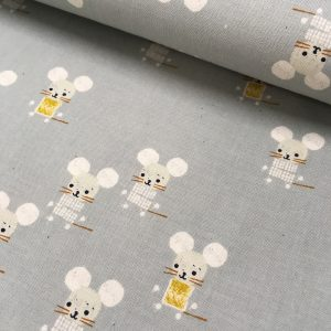 Das Stofferl, Webware ungebleichte Baumwolle Little Friends, Cotton+Steel, cottonsteel, cotton & steel, cotton and steel, Mäuschenstoff, Mausestoff, Mäuse, Stoffe, Kinderstoffe, Webstoffe, Webware, Baumwollstoffe, Patchwork, Quilten,